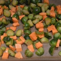 spruitjes en zoete aardappel voor oven