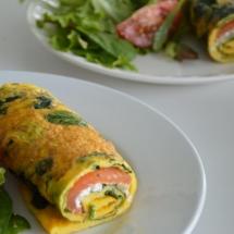 omelet met zalm en cottagecheese