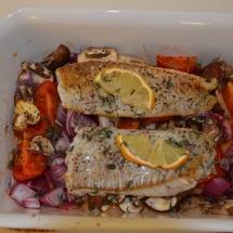 koolvishaasje met groenten uit de oven
