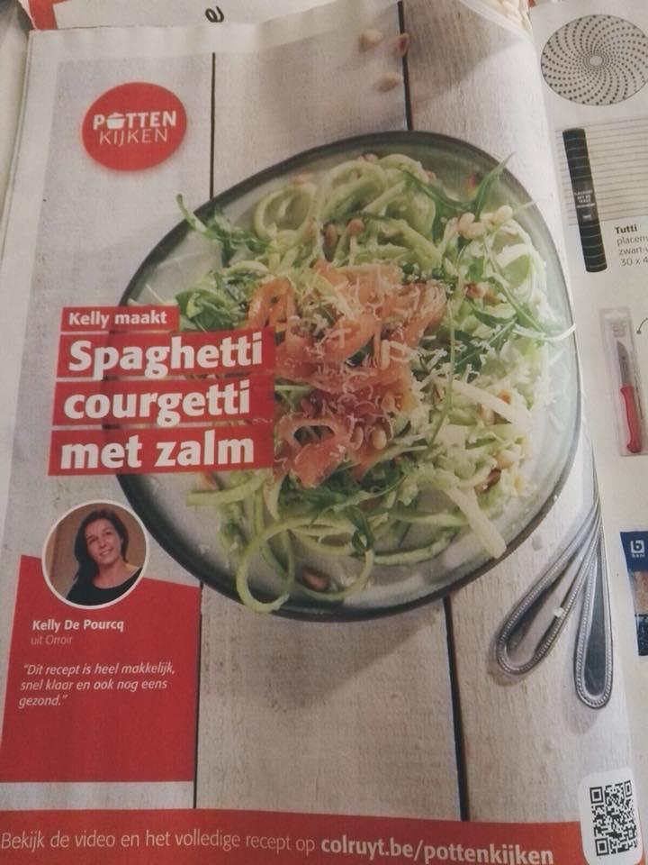 "Photo of ""Kelly uit Orroir maakt spaghetti courgetti met zalm"""