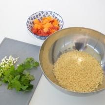 parelcouscous met asperges en spruitjes
