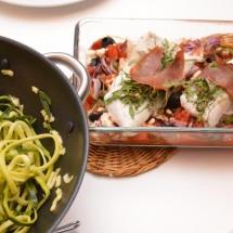 kabeljauw met parmaham en groentemix