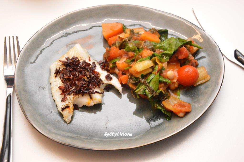 Photo of Kabeljauw met chorizo en een groentenstoofpotje